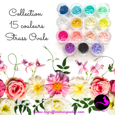 Collection 15 couleurs strass ovale