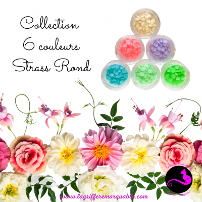 Collection 6 couleurs strass rond